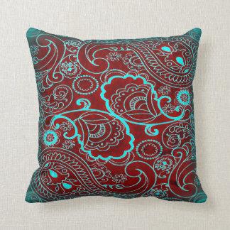 Retro Maroon and Teal Paisley Pattern Cushion