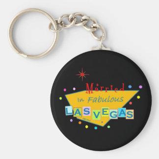 Retro Married In Fabulous Las Vegas Keychain