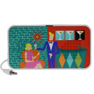 Retro Martini Couple Doodle Portable Speaker