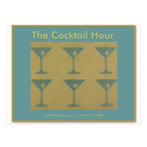 """Retro Martini """"The Cocktail Hour""""  Gifts Apparel Post Card"""