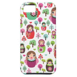 Retro matryoshka russian dolls kids pattern iPhone 5 case