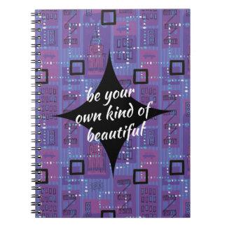 Retro Mauve Blue Black Abstract Motivational Spiral Notebook
