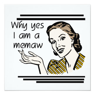 "Retro Memaw T-shirts and Gifts 5.25"" Square Invitation Card"