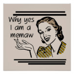 Retro Memaw T-shirts and Gifts Posters