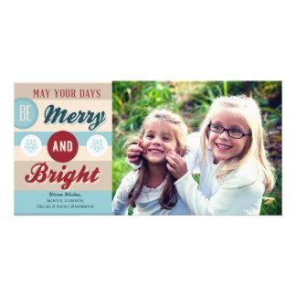 Retro Merry and Bright Typography Holiday Photo Custom Photo Card