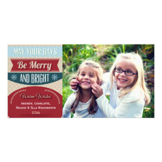 Retro Merry and Bright Typography Holiday Photo Photo Cards