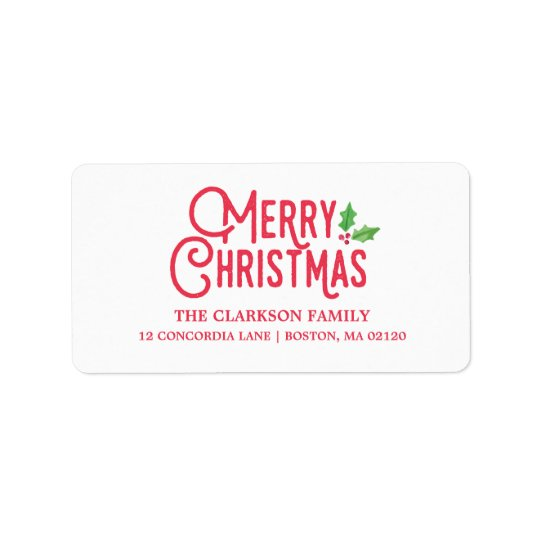 Retro Merry Christmas Address Label