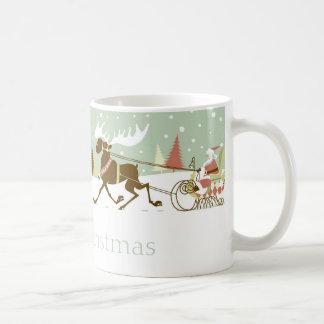 Retro Merry Christmas Cute Santa & Rein-Deer Basic White Mug