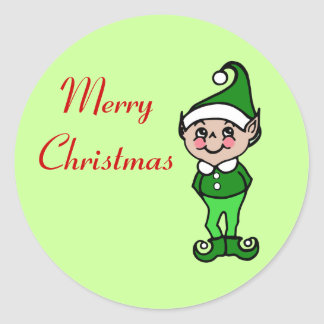 Retro Merry Christmas Elf Stickers