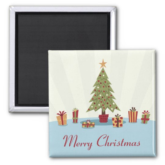Retro merry christmas fridge magnet