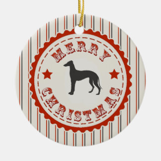 Retro Merry Christmas Greyhound Dog Christmas Ornament