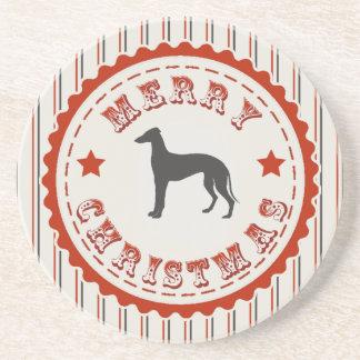 Retro Merry Christmas Greyhound Dog Coaster