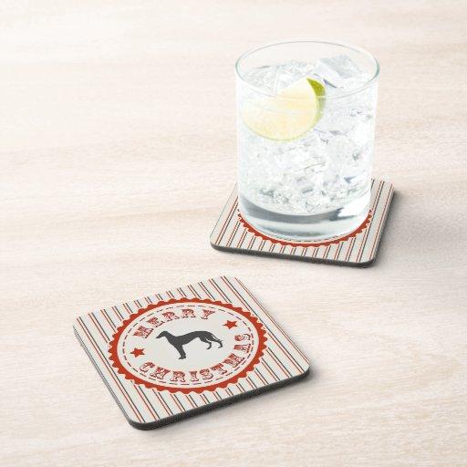Retro Merry Christmas Greyhound Dog Beverage Coaster