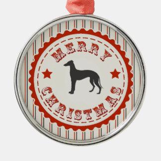 Retro Merry Christmas Greyhound Dog Christmas Tree Ornament