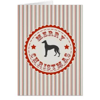 Retro Merry Christmas Greyhound Dog Greeting Card