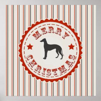 Retro Merry Christmas Greyhound Dog Holiday Poster