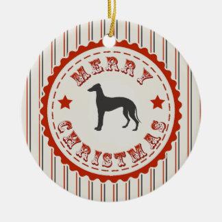 Retro Merry Christmas Greyhound Dog Round Ceramic Decoration