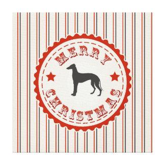 Retro Merry Christmas Greyhound Dog Vintage Emblem Stretched Canvas Print