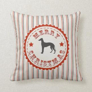 Retro Merry Christmas Greyhound Vintage Holiday Cushion