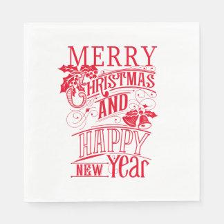 Retro Merry Christmas & Happy New Year Disposable Napkins
