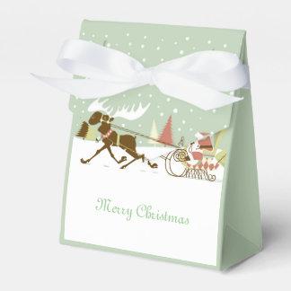 Retro Merry Christmas Santa & Rain-Deer Party Favour Box