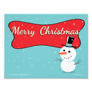 Retro Merry Christmas Snowman Photo Print