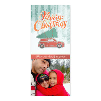 Retro Merry Christmas Snowy Photo Card