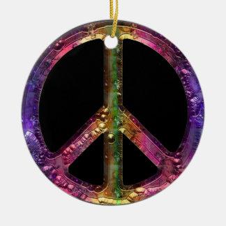 Retro Metallic Grunge Peace Sign Christmas Decor Christmas Ornament