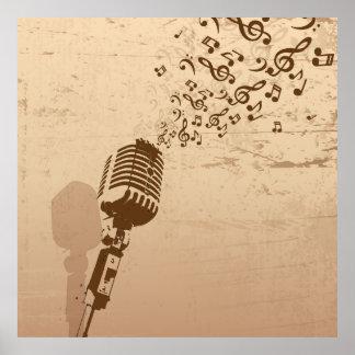 Retro Microphone Music Illustration Poster