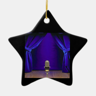 Retro Microphone On Stage Christmas Ornament