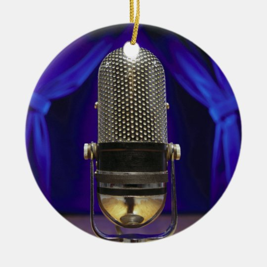 Retro Microphone & Stage Curtains Christmas Ornament