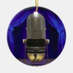 Retro Microphone & Stage Curtains Round Ceramic Decoration