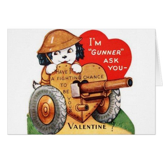 Retro Military Gunner Valentine's Day Card