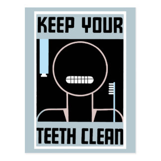 Retro minimalist ad Keep your teeth clean Postcard