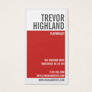 Retro Minimalist Geometric Split - Red Business Card