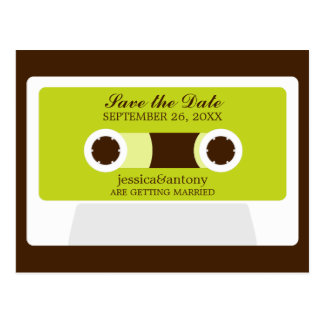 Retro Mixtape Wedding Save the Date Postcard