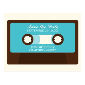 Retro Mixtape Wedding Save the Date Postcard