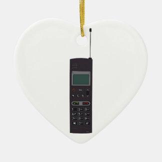 Retro Mobile phone Ceramic Heart Decoration