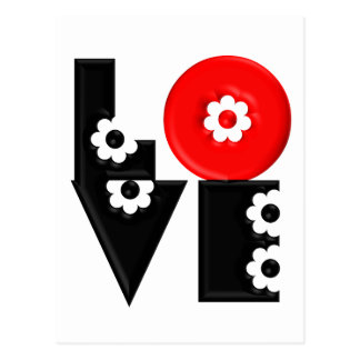 Retro Mod 3D Flowered LOVE Postcard