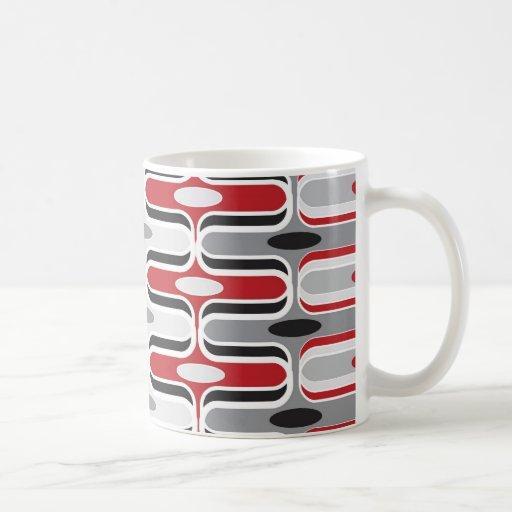 Retro Mod Art Deco Zig Zag Funky Pattern Red Black Basic White Mug