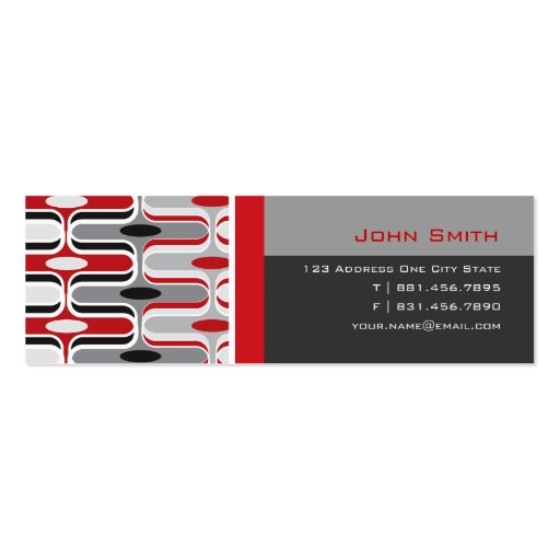 Retro Mod Art Deco Zig Zag Funky Pattern Red Black Business Card Template