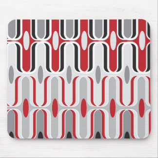 Retro Mod Art Deco Zig Zag Funky Pattern Red Black Mouse Mat