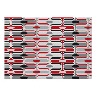 Retro Mod Art Deco Zig Zag Funky Pattern Red Black Poster