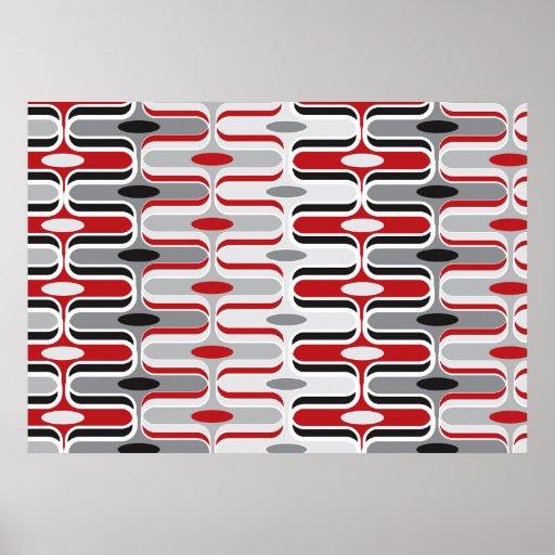 Retro Mod Art Deco Zig Zag Funky Pattern Red Black Print