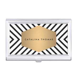 Retro Mod Black and White Pattern Gold Emblem Case Case For Business Cards