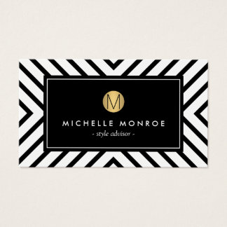 Retro Mod Black and White Pattern Gold Monogram