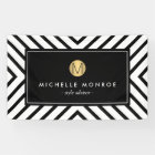 Retro Mod Black and White Pattern Gold Monogram Banner