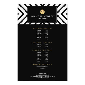 Retro Mod Black and White Pattern Gold Monogram Flyer