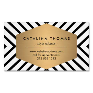 Retro Mod Black and White Pattern Magnetic Magnetic Business Card