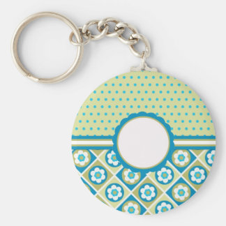Retro Mod Blue, Green and Purple Flowers, add text Basic Round Button Key Ring